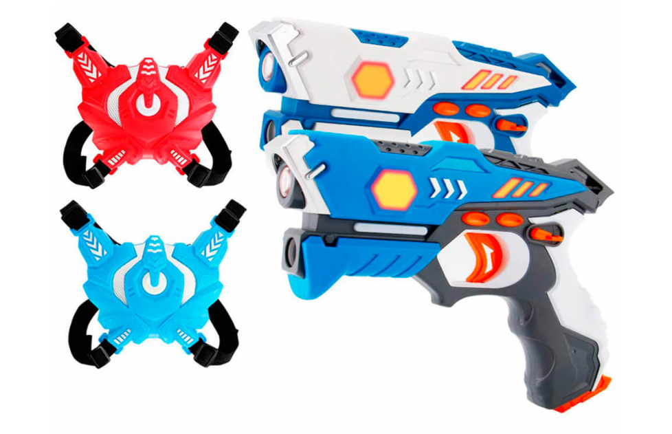 Pistolas láser de batalla con chalecos receptores